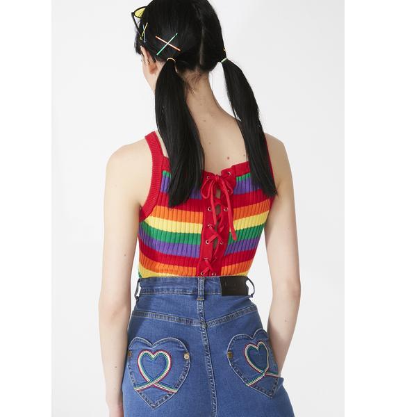 Lazy Oaf Rainbow Knit Crop Top