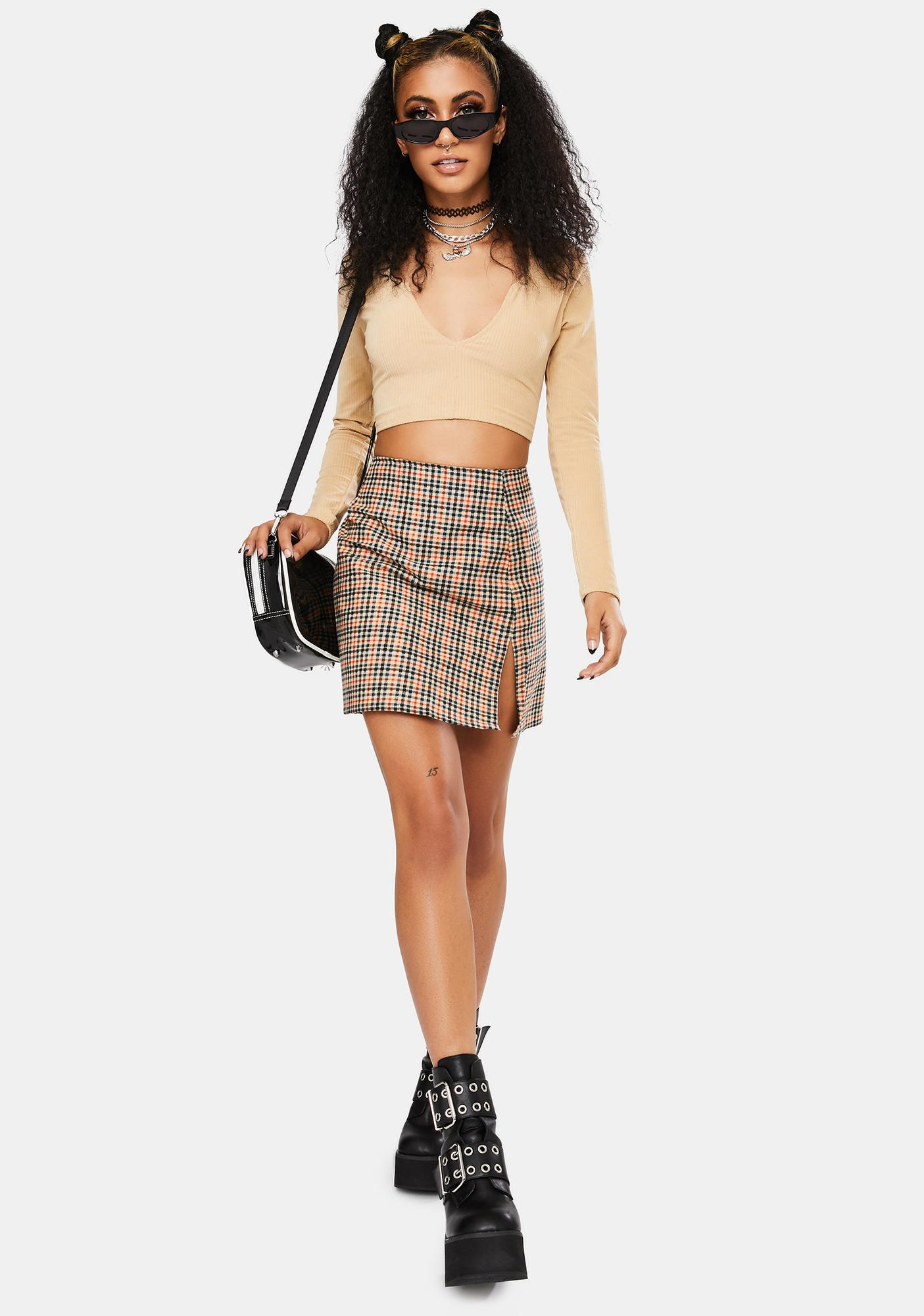 Motel Country Check Sheny Skirt