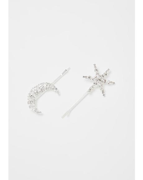 Sun N' Moon Rhinestone Hair Clips