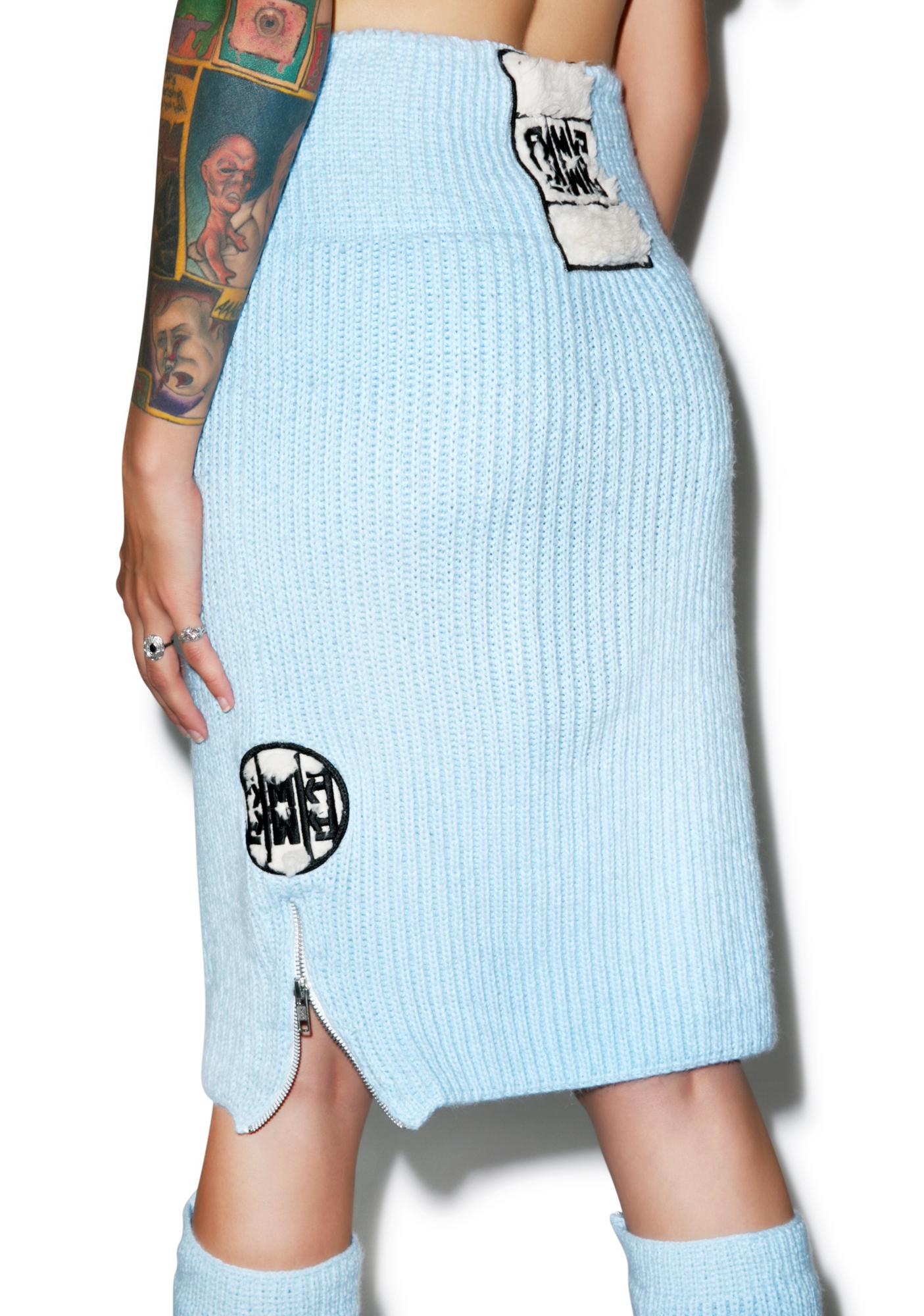 Maria ke Fisherman Blu Fluffy Knit Pencil Skirt
