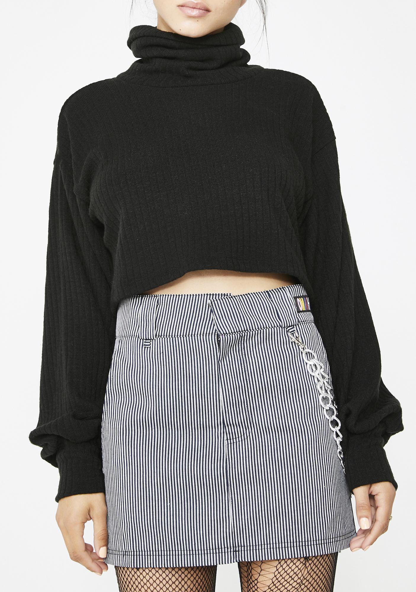 O Mighty Pinstripe Chain Skirt