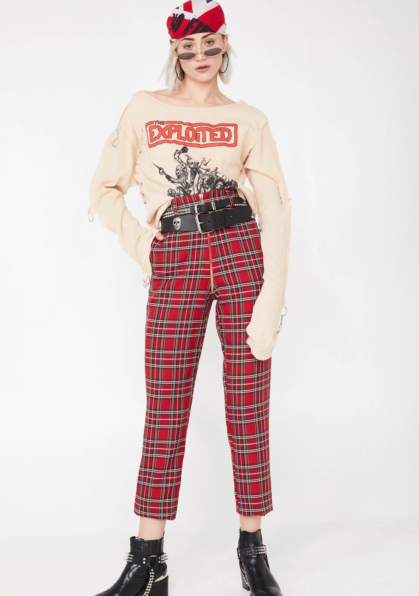 Local Heroes Plaid Zip Up Pants