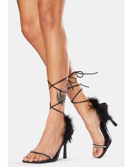 Fifi Feather Wrap Square Toe Stiletto Heels