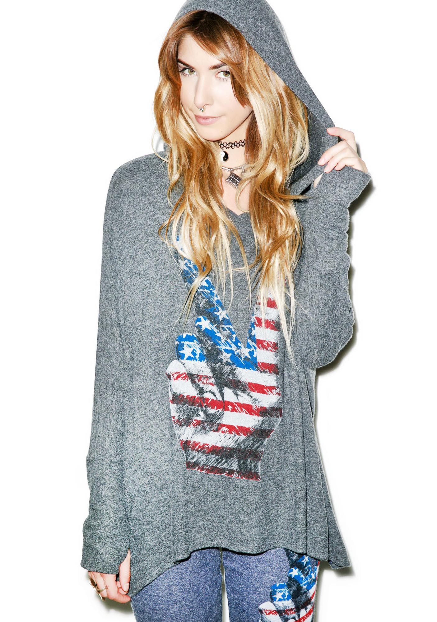 Lauren Moshi Wilma Oversized Peace Hand Pullover