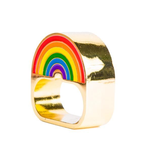 Rainbow Bright 2 Finger Ring