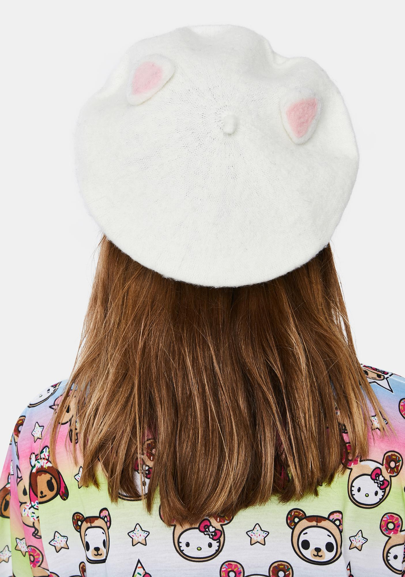 Blanc Are You Furreal Beret