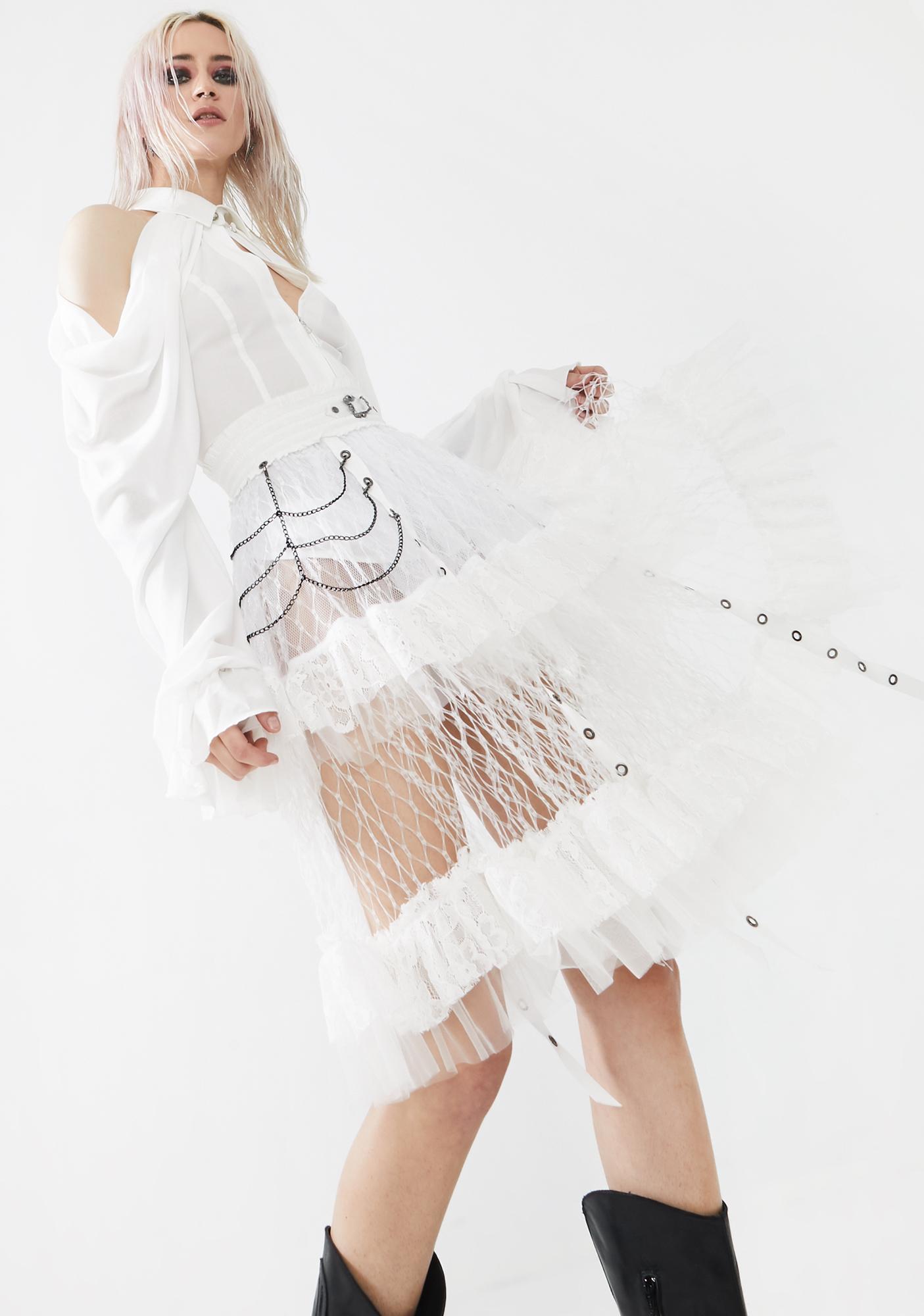 Punk Rave White Lolitas Taboo Cage Skirt