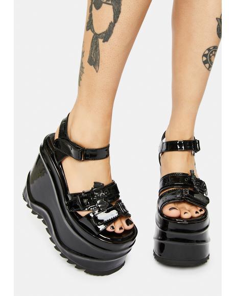 Creature Of Hell Patent Platform Sandals