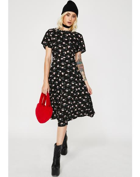 Floral Cut-Out Tie Back Midi Dress