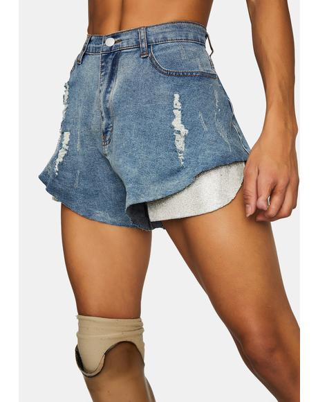 Up The Tempo Flared Denim Shorts