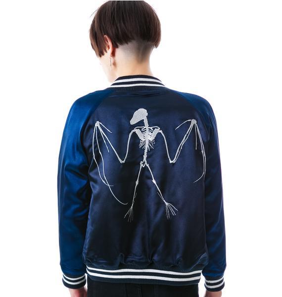 Zoe Karssen Bat Skeleton Baseball Jacket