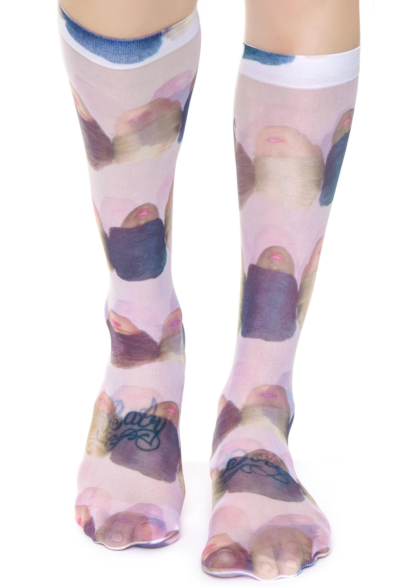 Coveted Society Doll Heads Sheer Socks