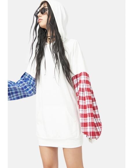 Don't Trust Me Plaid Sleeve Oversize Hoodie