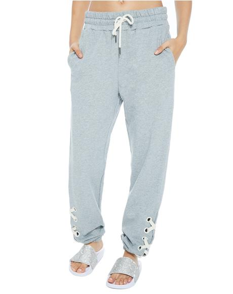 Crash Damage Lace-Up Sweatpants