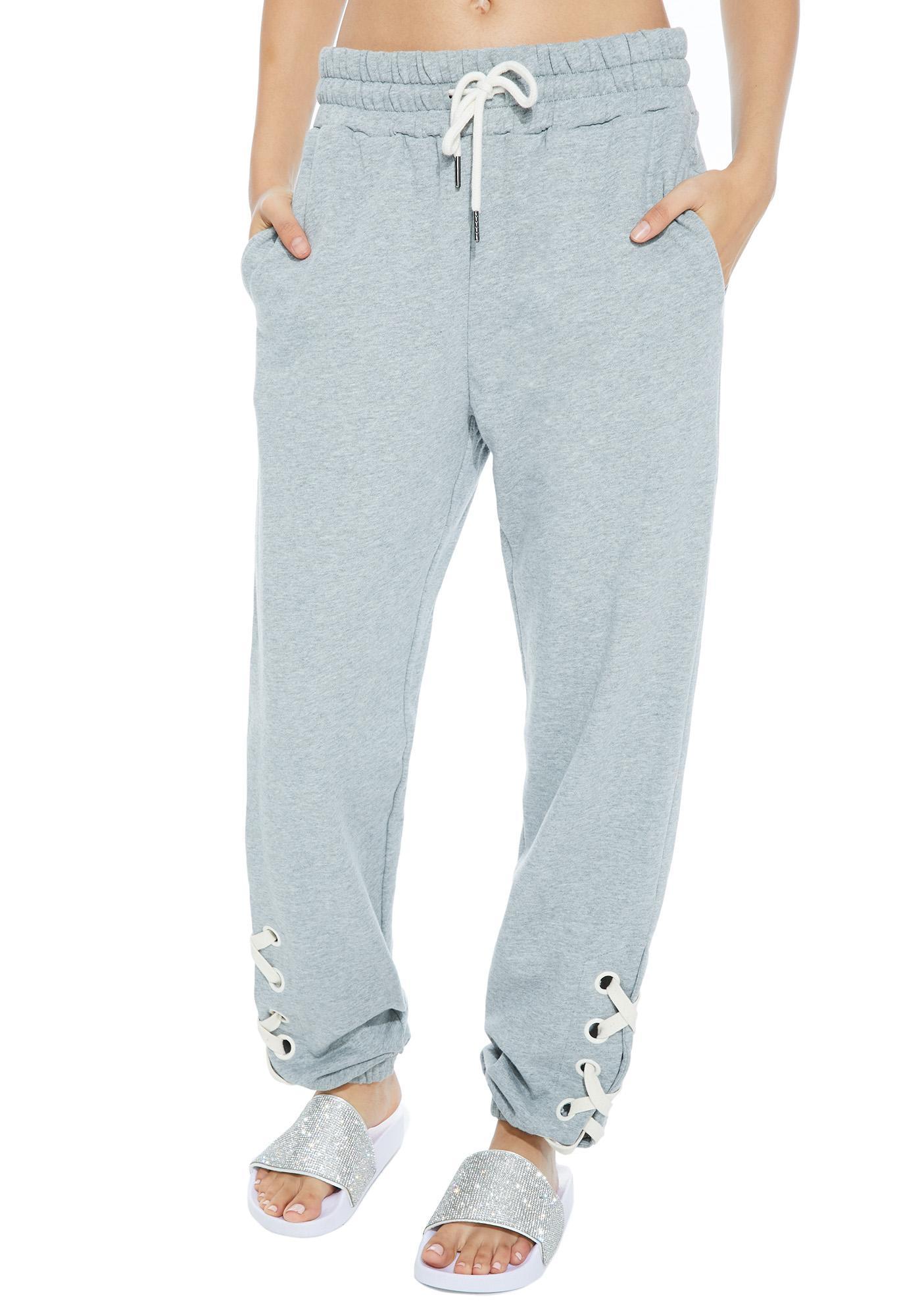 Crash Damage Lace-Up Sweatpants