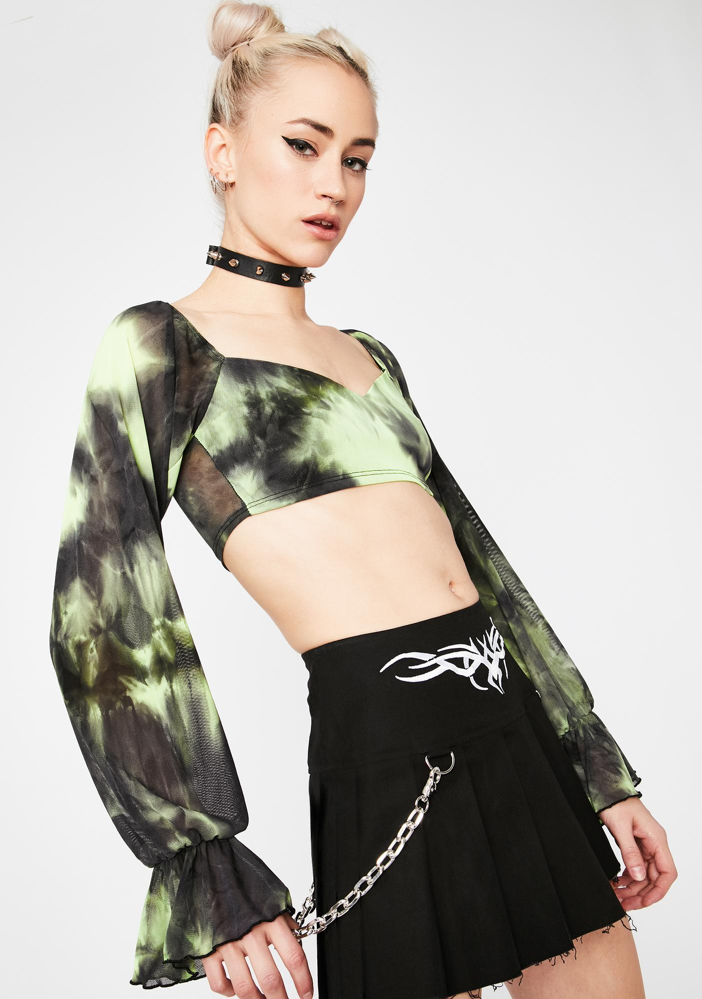 Sage Give It Up Tie Dye Crop Top