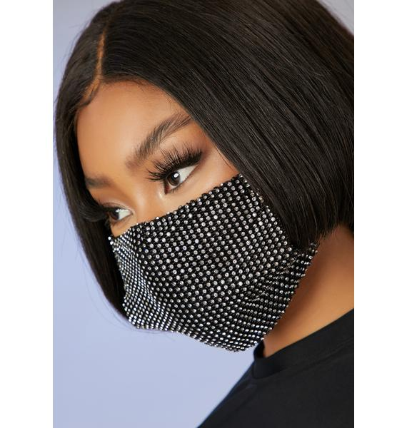 Poster Grl Respect The Drip Rhinestone Face Mask