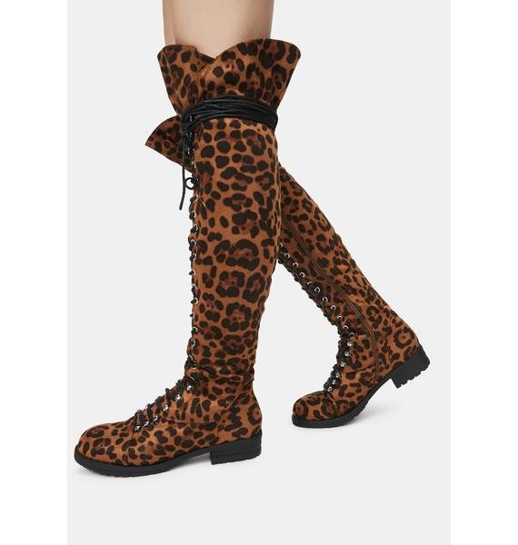 Leopard Wild Harsh Fight Lace Up Boots