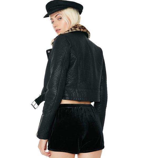 Onyx Lounge Life Velvet Shorts