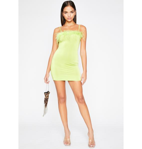 Green Eyed Monster Marabou Dress