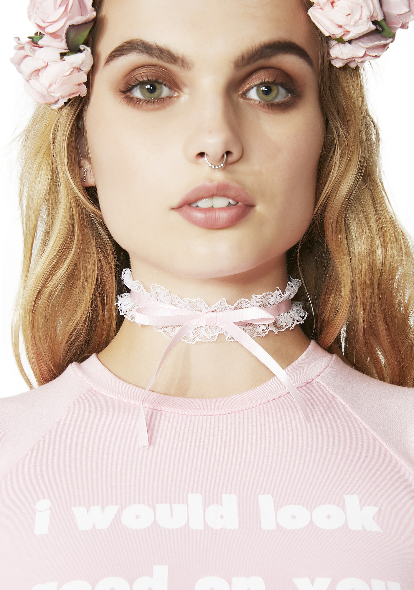 Lolita Lace Bow Choker Pink