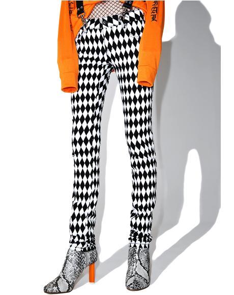 White & Black Harlequin Skinny Jeans