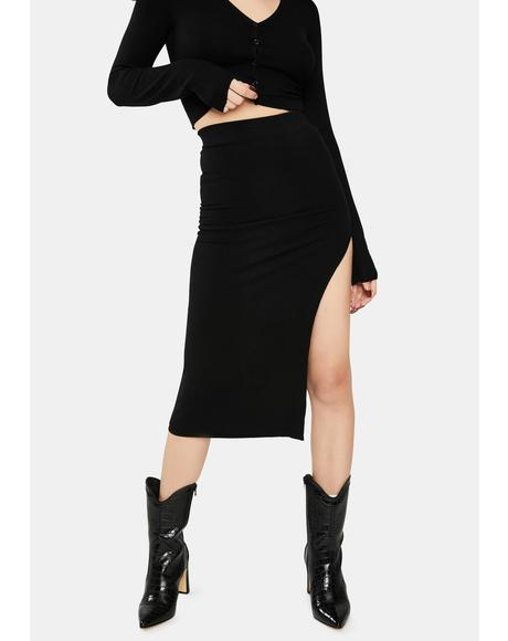 Janet Knit Slit Skirt
