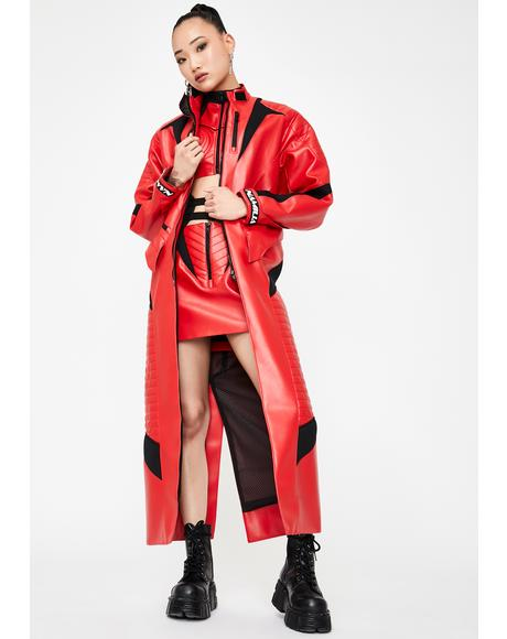 Red Motocross Long Coat