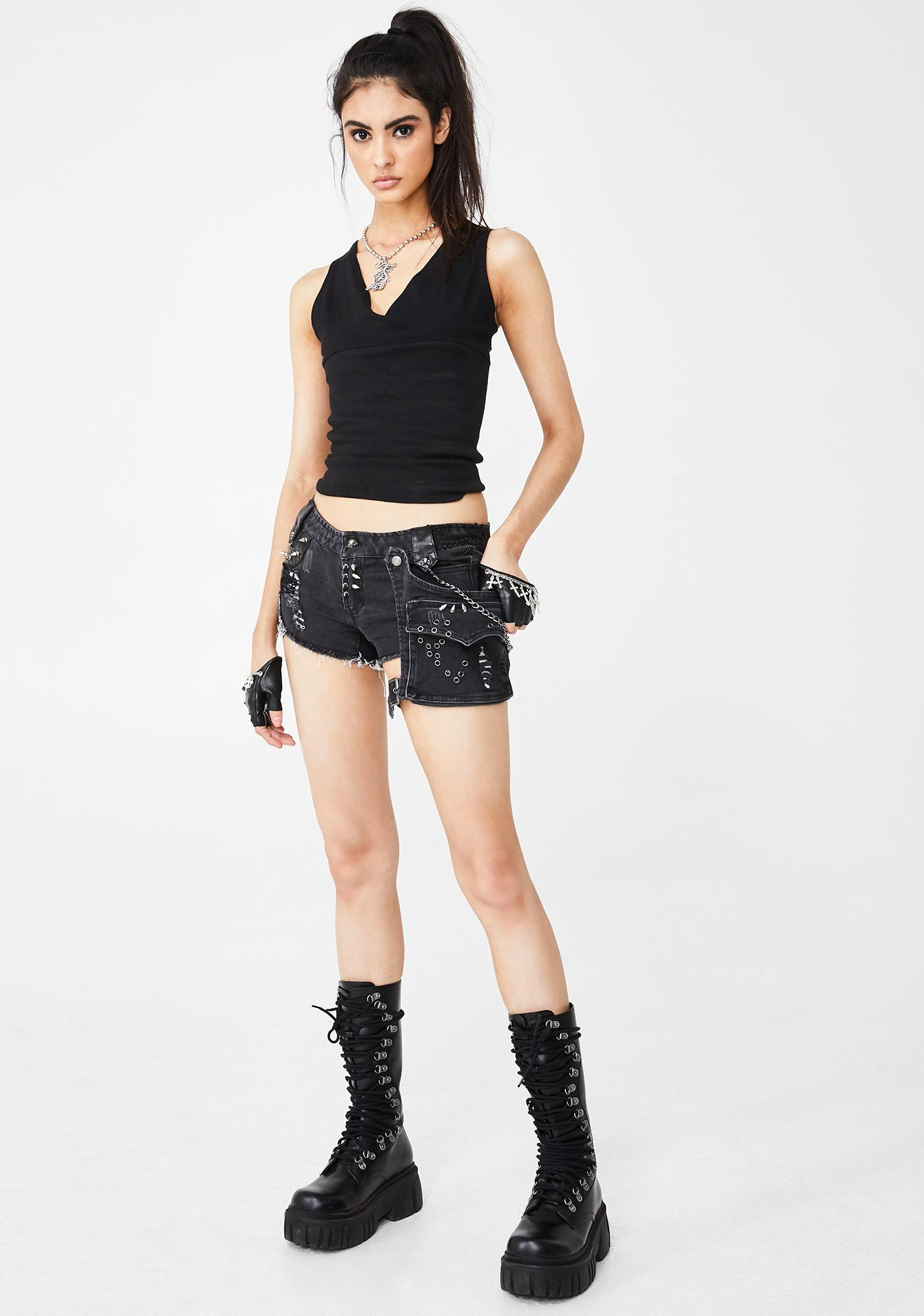 Gothic Visual Kei Mini Shorts