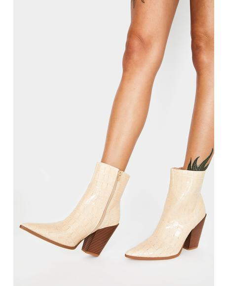 Beige Croc Shannon Ankle Boots