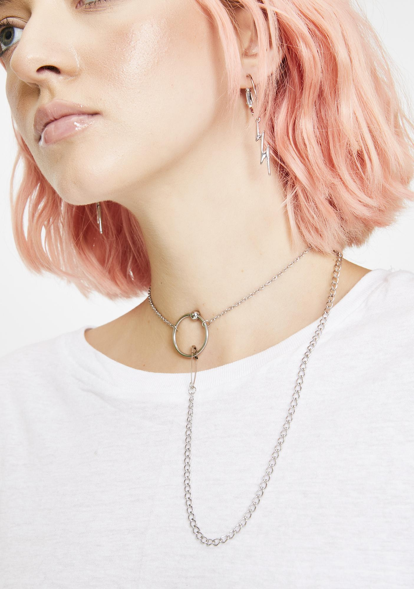 Disturbia Orbit Safety Pin Necklace