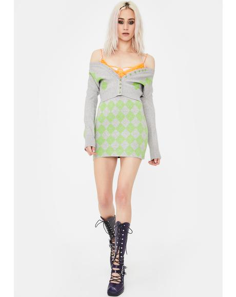 Green Argyle Knit Mini Skirt
