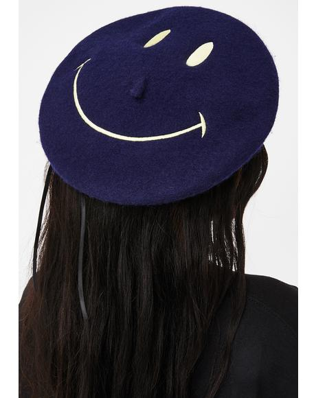 Navy Feelin' Good Smiley Beret