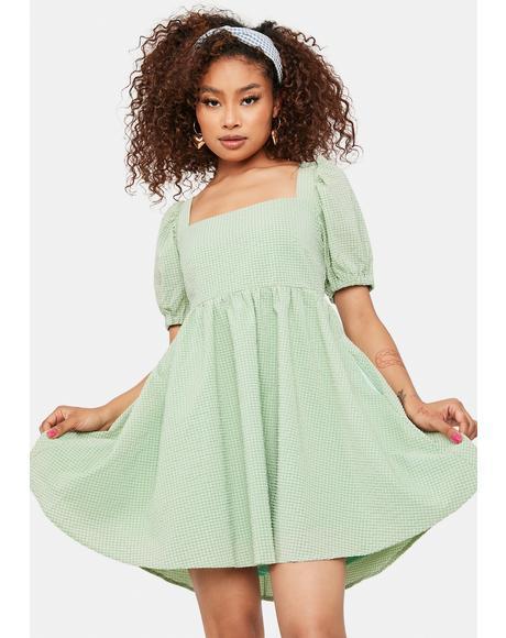 Sage Mellow Mood Puff Sleeve Mini Dress
