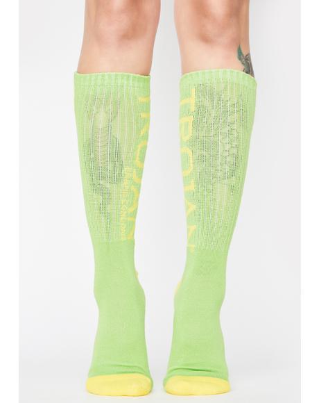 x Trojan Neon Crew Socks
