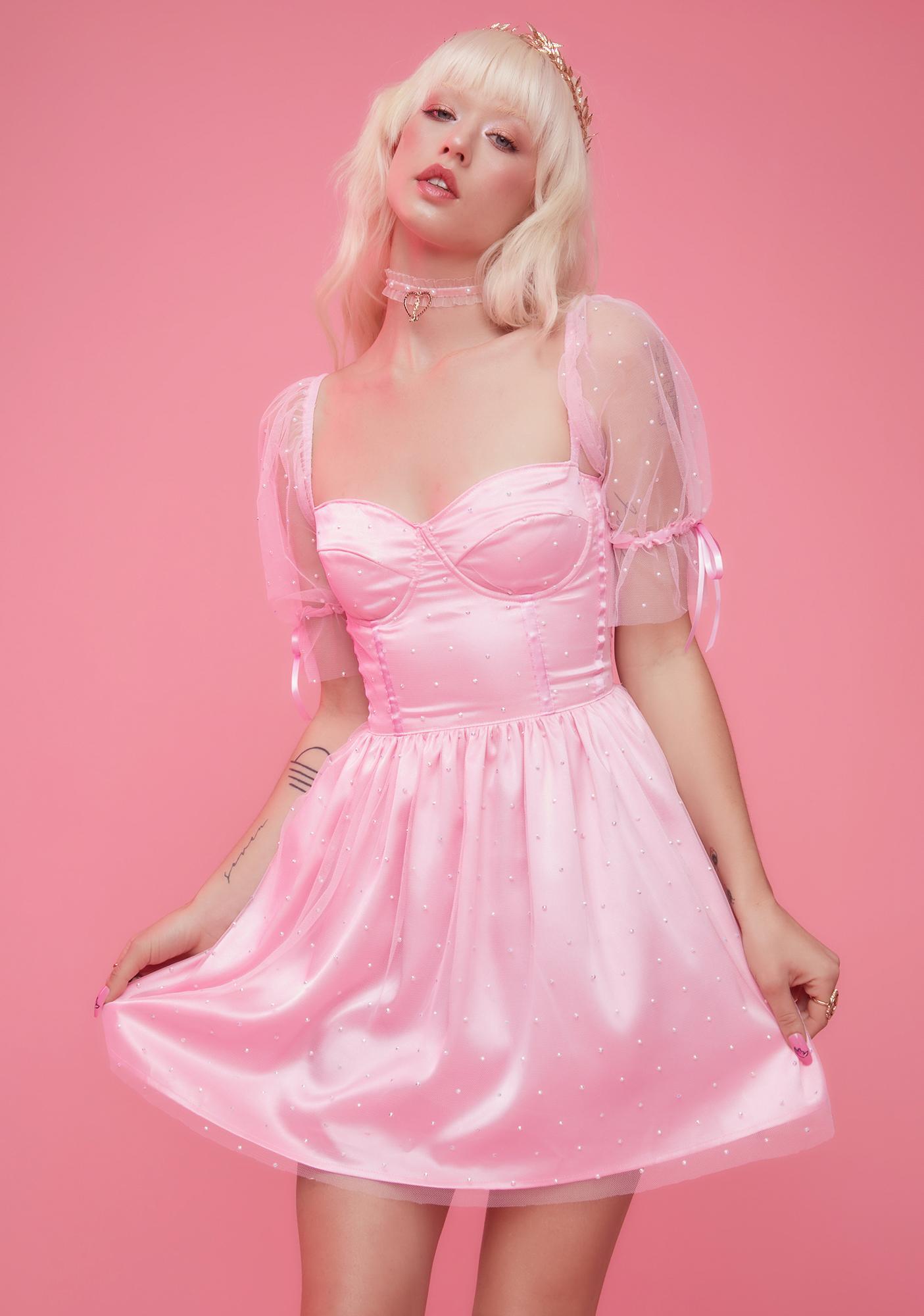 Sugar Thrillz Pure Bliss Rhinestone Babydoll Dress