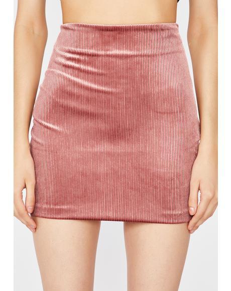 Blush Bish I'm Hawt Velvet Skirt