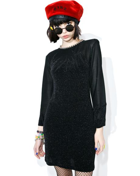 Vintage Black Flame Shimmer Dress