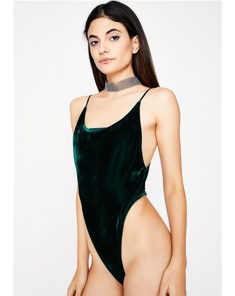 Emerald Change Of Heart Velvet Bodysuit