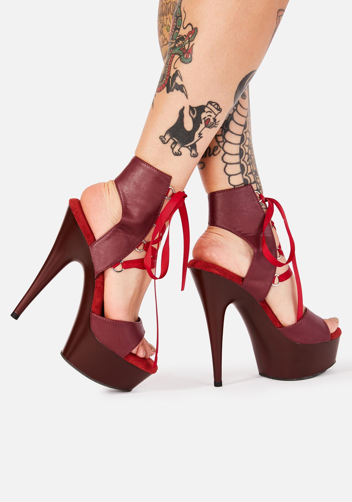 Pleaser Crimson Risky Baby Platform Heels