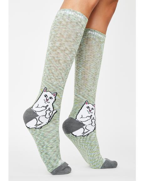 Grey Speckle Lord Nermal Crew Socks