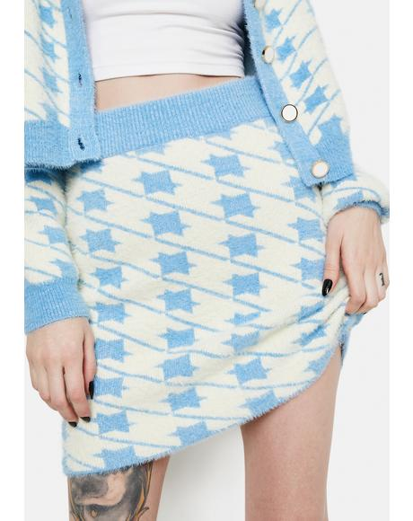 Blue Houndstooth Fuzzy Mini Skirt