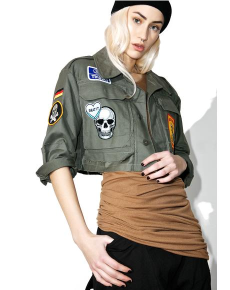 Vintage Deadstock Fuck Cropped Military Jacket