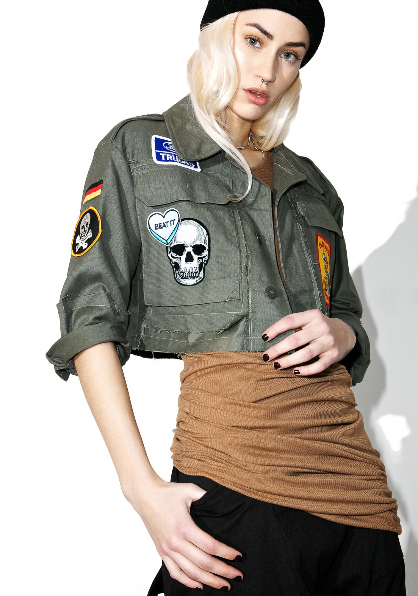 Hazmat Design Vintage Deadstock Fuck Cropped Military Jacket