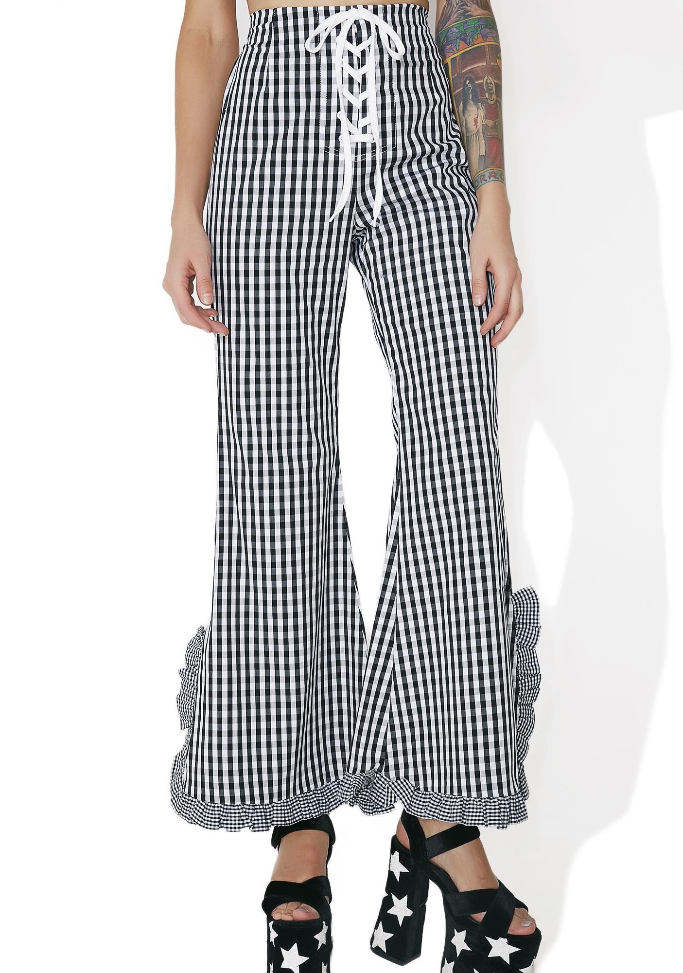 one spo Gingham Check Bell Bottoms