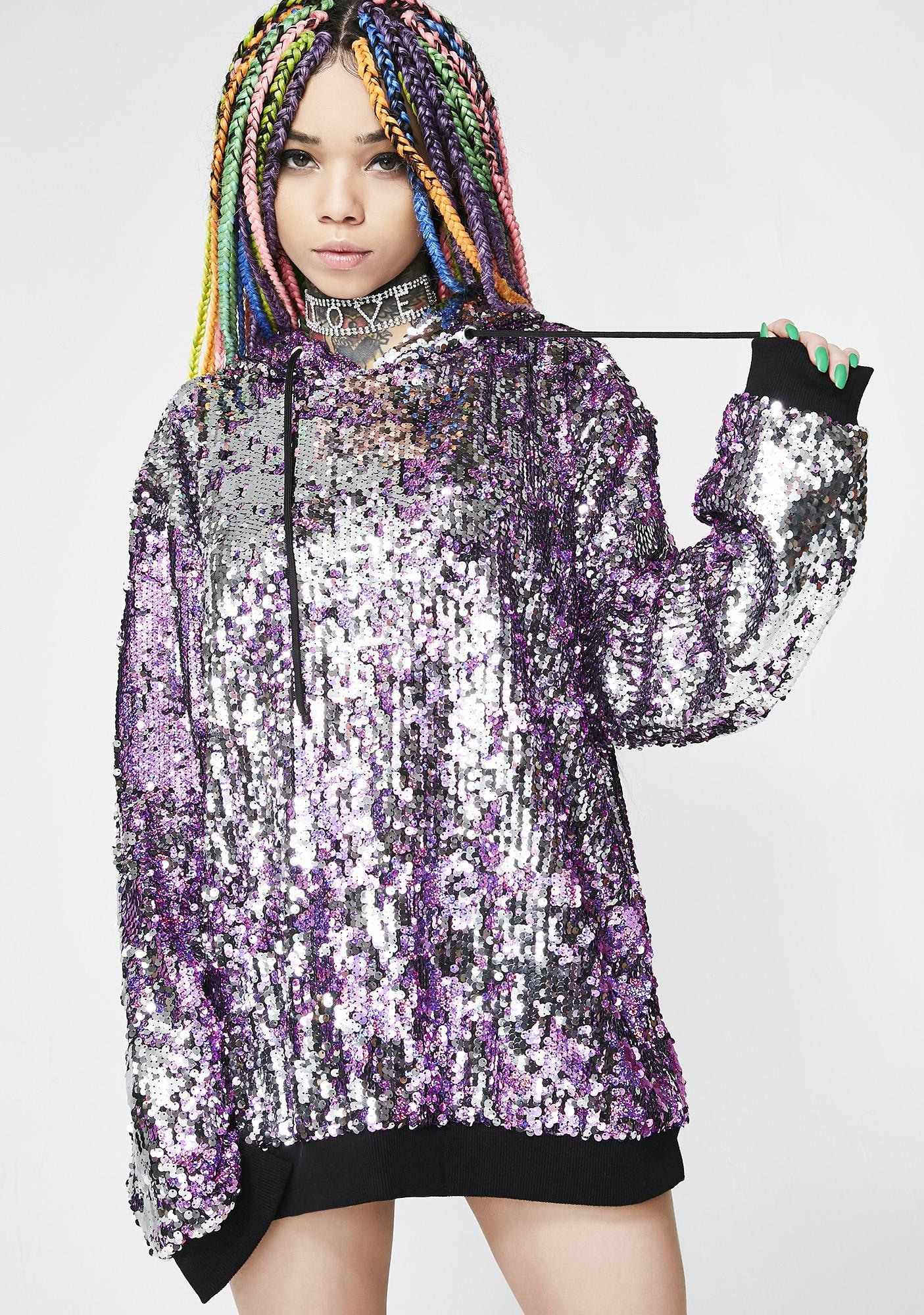 Jaded London Flip Sequin Hoodie