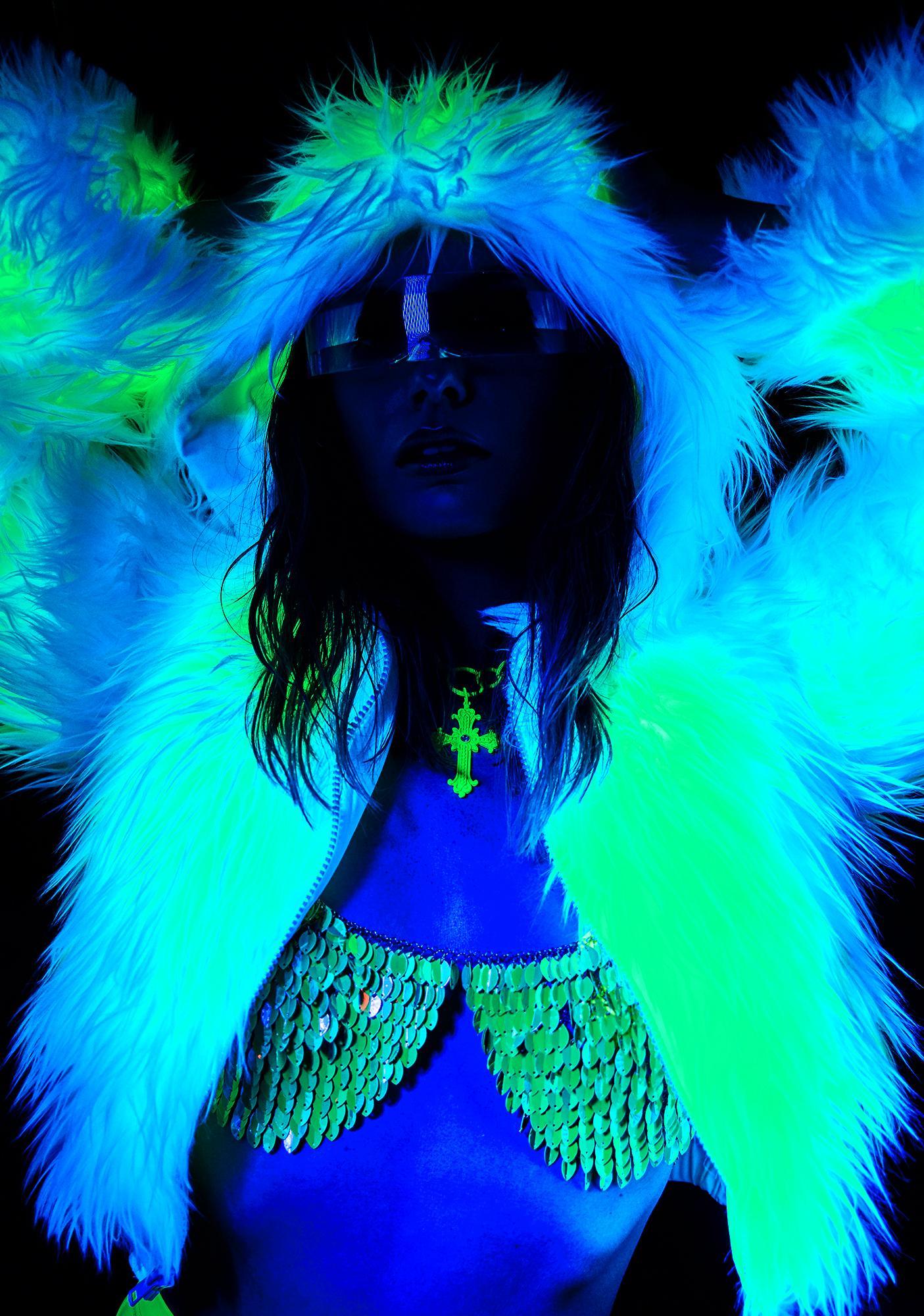 J Valentine Atomic Light Up Faux Fur Jacket