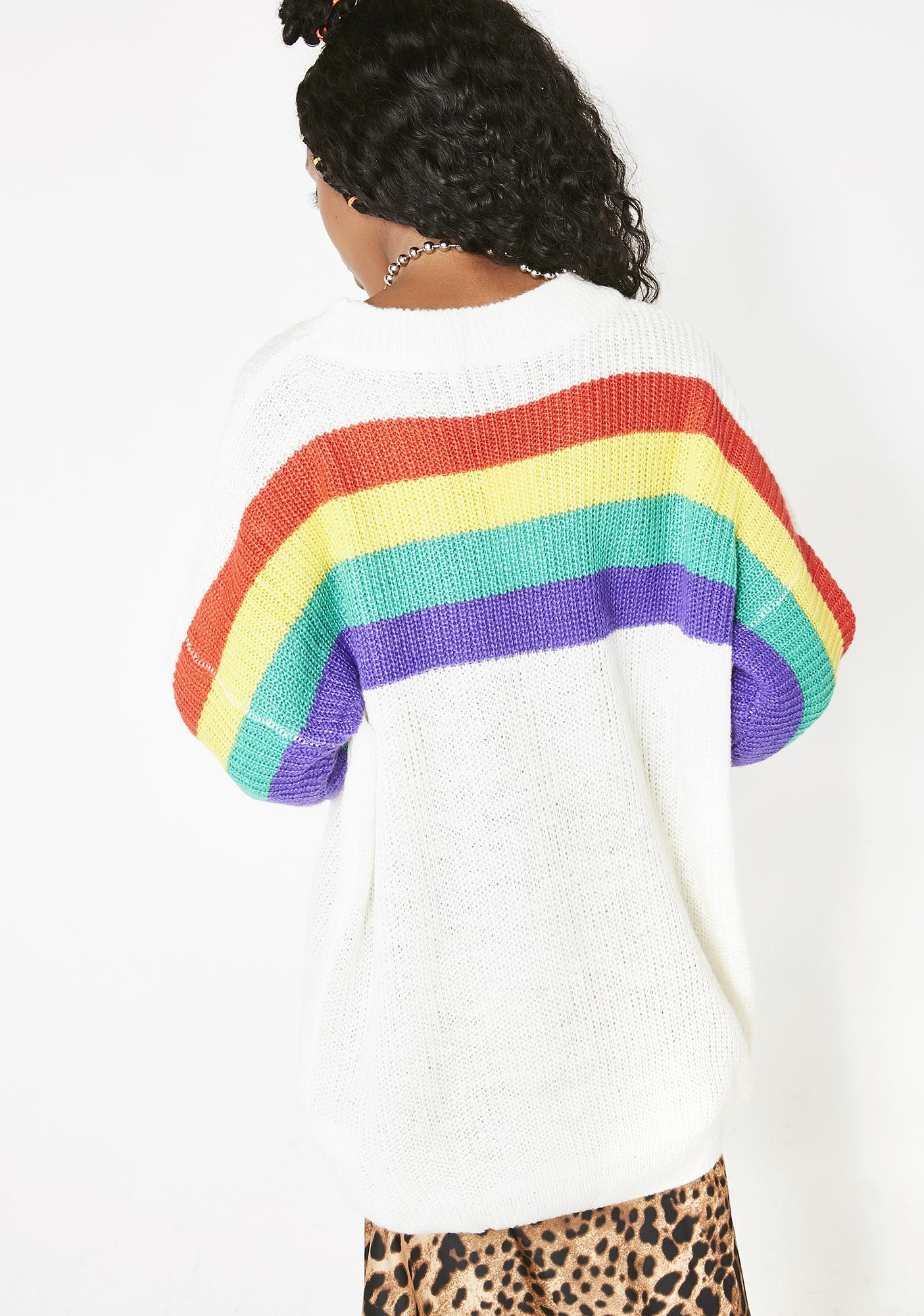 d28fc131e6e05f Oversized Ribbed Rainbow Sweater | Dolls Kill