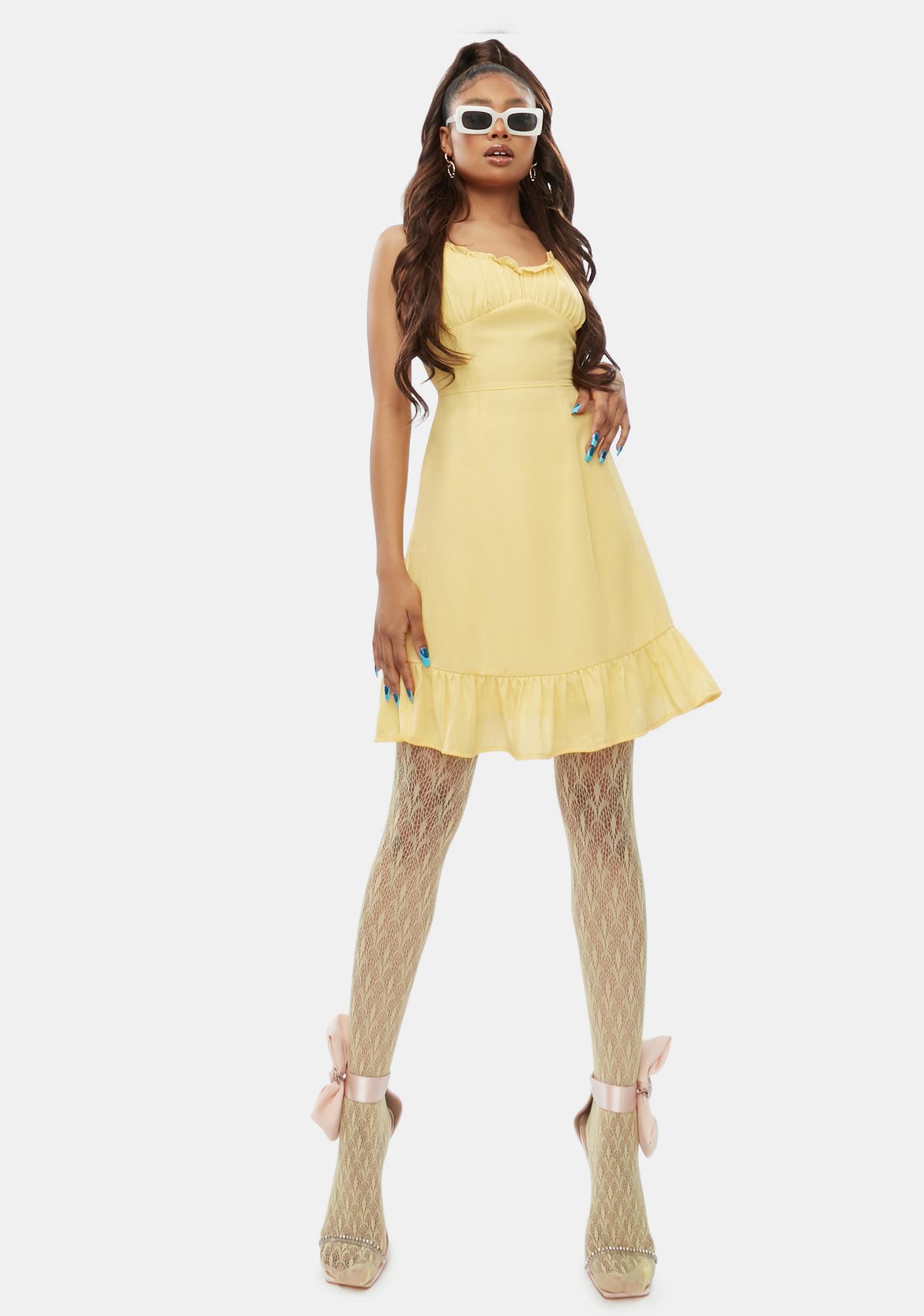 Sour No Promises Ruffle Tie Strap Mini Dress