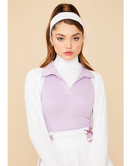 Lilac Designer Sass Crop Polo Top